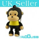 16GB Novelty Cartoon Cute Brown Yellow Monkey USB Flash Key Pen Drive Memory Stick Gift UK