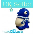 4GB Novelty Cartoon Cute Blue Penguin USB Flash Key Pen Drive Memory Stick Gift UK