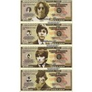 Novelty Dollar The Beatles John Lennon Paul McCartney George Harrison Ringo Starr Dollar Bills Set of 8