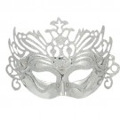 Silver Tone Plated Plastic Carvinal Party Mask for Lady