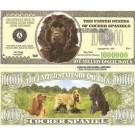Novelty Dollar Cocker Spaniel Dog One Million Dollar Bills X 4 New
