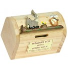 Wooden Treasure Chest Money Box. 17 Designs! Elephant & Bucket. Secret Lock. Sale! FREE P&P!