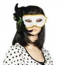 Women Black Green Feather Decor Costume Venetian Mask