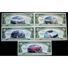 Novelty Dollar American Classic Cars Dollar Bills Set Of 5 New Gift