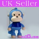 16GB Novelty Cartoon Cute Blue Monkey USB Flash Key Pen Drive Memory Stick Gift UK