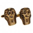 Gold Coloured Pharoah's Mask Cufflinks in Gift Box