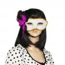 Women Blk Fuchsia Feather Decor Costume Venetian Mask