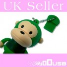 8GB Novelty Cartoon Cute Green Monkey USB Flash Key Pen Drive Memory Stick Gift UK