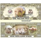Novelty Dollar Pigs Sow Piglets Porcus Domesticus Dollar Bills X 4 New