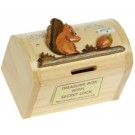 Wooden Treasure Chest Money Box. 17 Designs! Squirrel & Nut. Secret Lock. Sale! FREE P&P!