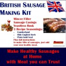 Bonzza British SAUSAGE MAKING KIT with Meat Mincer Grinder Stuffer, Sausage Skins, Seasonings & Yeastless Rusk in a Boxed Set makes up to 8lbs of virtually SALT FREE sausages Cumberland, Olde English, Plain with added meat. Ideal Gift.
