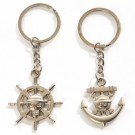 Skull & Wheel Anchor Key Ring Chain Keyring 2pcs