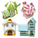 Novelty DIY House 3D Jigsaw Puzzle, Paper Model, 4 Lovely Houses,Gift Ideas