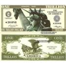 Novelty Dollar Statue Of Liberty Eagle One Trillion Dollar Bills X 4