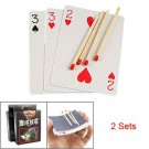 2 Pcs Party Magical Floating Match on Card Trick Prop