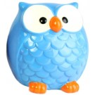 Large Bright Owl Money Box - Blue