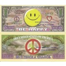 Novelty Dollar Smile Be Happy Peace Million Smiley Dollar Bills X 4