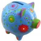 Brightly Coloured Piggy Bank Money Box - Blue