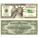 Novelty Dollar Statue Of Liberty New York Trillion Dollar Bills X 4