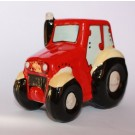 Tractor Ceramic Money Box, Money Bank in Green, Red or Navy Blue (Piggy Bank) (Red)