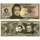 Novelty Dollar Johnny Cash Man In Black Million Dollar Bills X 4 New